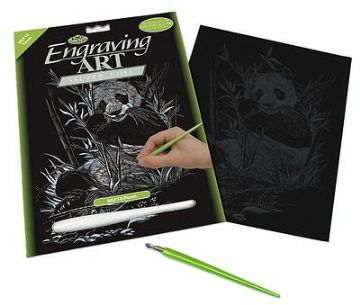 ENGRAVING ART SET - PANDA (SILVER FOIL) by ROYAL & LANGNICKEL